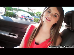 Beautiful brunette got seduced in the car and fucked hard at home