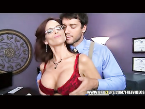 Beautiful brown haired office lady enjoys anal fuck at work
