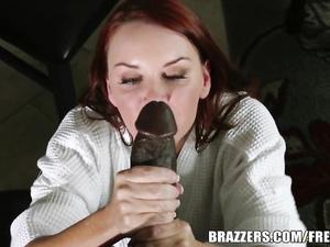 Stockings girl Janet sucks and fucks ebony cock