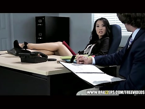 Horny Asian chick seduces her workmate at the office