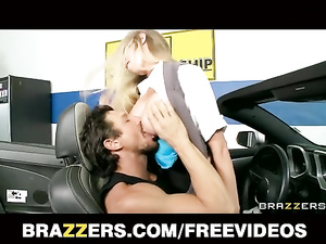 Blonde pleasures hot fuck in fancy car with sexy dealer