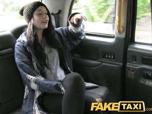 Young brunette gets tricked by cabdriver and fucks hard on back seat