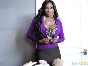 Mouthwatering black girl Diamond Jackson seduces and fucks a white guy in the office