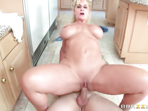 Bubble butt blonde milf passionately fucks with stepson in kitchen