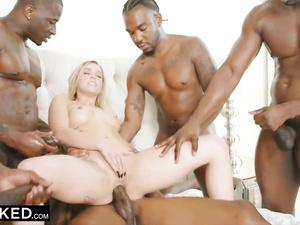 Petite skinny blonde Kali Rose is experiencing interracial gangbang fuck