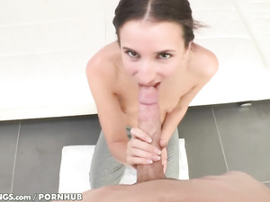 Cute young brown haired girl Belle Knox is doing tight blowjob to her fucker