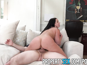 Huge boobed brunette does tight blowjob and fucks her landlord