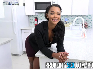 Adorable young mulatto girl is sucking big white dick and fucking hard in the office
