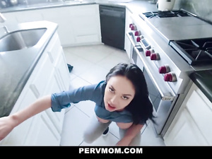 Busty brunette milf does titjob and deepthroat blowjob to stepson in kitchen