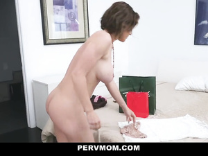 Sexy dressed milf babe with round cute boobies and tight jelly butt fucks her stepson