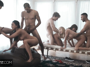 Exciting hot girlfriends Riley, Gabbie and Vicki are enjoying hardcore orgy fuck